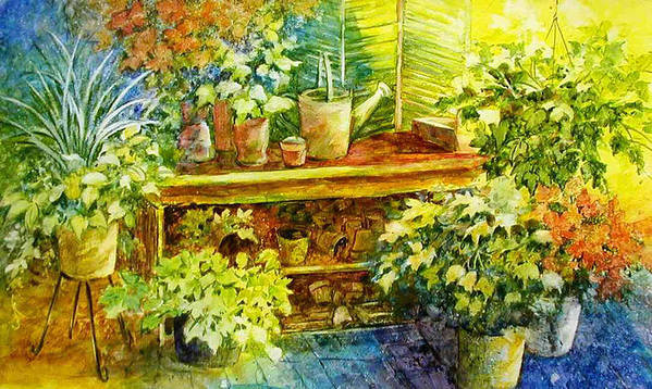 Greenhouse;plants;flowers;gardener;workbench;sprinkling Can;contemporary Poster featuring the painting Gardener's Joy by Lois Mountz