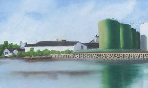Industrial Landscape Painting Poster featuring the painting Hess Tanks From Costco by Ron Erickson