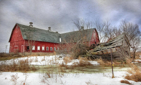 Old Red Barn Poster featuring the photograph I Fall To Pieces by Lori Deiter