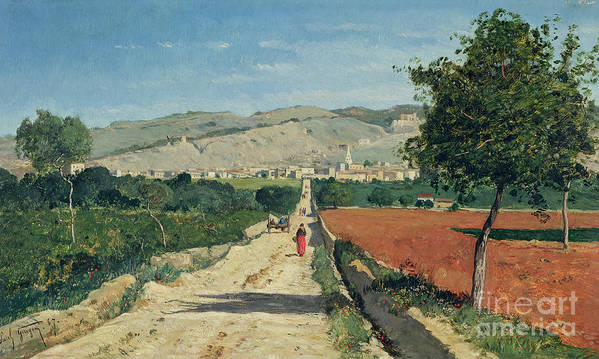 Fields Poster featuring the painting Landscape In Provence by Paul Camille Guigou