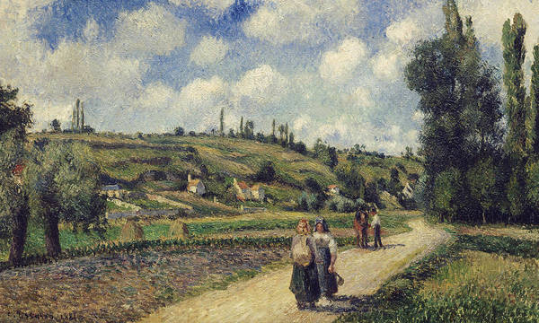 Landscape Near Pontoise Poster featuring the painting Landscape Near Pontoise by Camille Pissarro