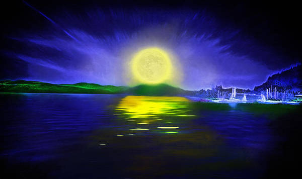 Couer D' Alene; Idaho; Lakes; Water; Night; Nighttime; Moonlight; Moonlit; Full Moon Poster featuring the photograph Marina Moonrise by Steve Ohlsen