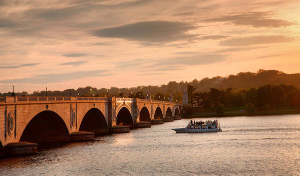Sunset Poster featuring the photograph Memorial Bridge II by Steven Ainsworth