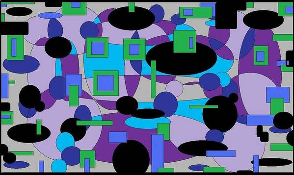 Digital Abstract Poster featuring the digital art Moody Purple by Jordana Sands