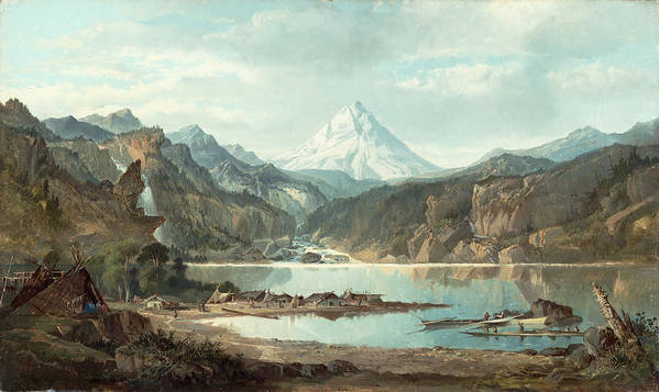 Mountain Poster featuring the painting Mountain Landscape With Indians by John Mix Stanley