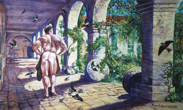 Cloisters Poster featuring the painting Naked In The Cloisters by Marc DeBauch
