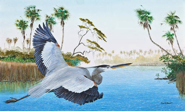 Blue Heron Poster featuring the painting Nature Coast 2 by Kevin Brant