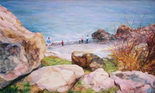 Painting On The Shore Of The Ocean Poster featuring the painting On The Shore Of The Ocean by Maya Bukhina