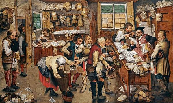 Man Poster featuring the painting Peasants Paying Tithes By Pieter Bruegel I by Pieter Bruegel I