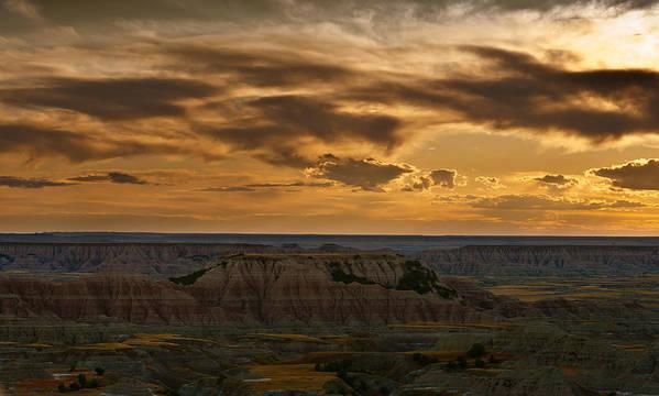 Badlands Poster featuring the photograph Prairie Wind Overlook Badlands South Dakota by Steve Gadomski