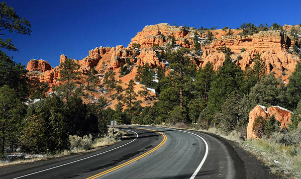 Red Poster featuring the photograph Road Through Red Canyon State Park by Pierre Leclerc Photography