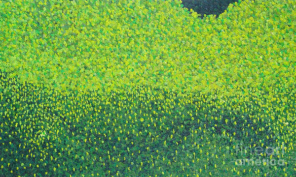 Abstract Poster featuring the painting Soft Green Wet Trees by Dean Triolo