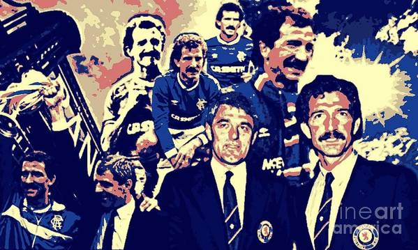 Rangers Art Poster featuring the digital art Souness And Smith The New Era by Broomloan Art