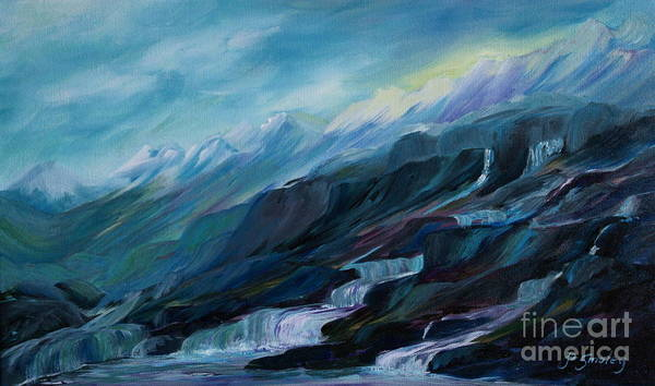Spring Water Trickling Down Mountains Poster featuring the painting Spring Water by Joanne Smoley
