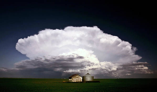 Cumulonimbus Poster featuring the digital art Storm Clouds Over Saskatchewan Granaries by Mark Duffy
