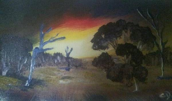 Landscape Poster featuring the painting Sunset by Christine Daffie