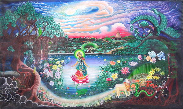 Spirituality Poster featuring the painting Swamini'garden by Padmananda