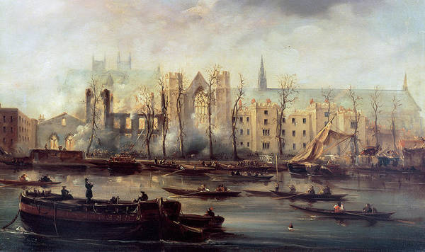 The Poster featuring the painting The Burning Of The Houses Of Parliament by The Burning of the Houses of Parliament