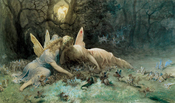 The Fairies Poster featuring the painting The Fairies by Gustave Dore