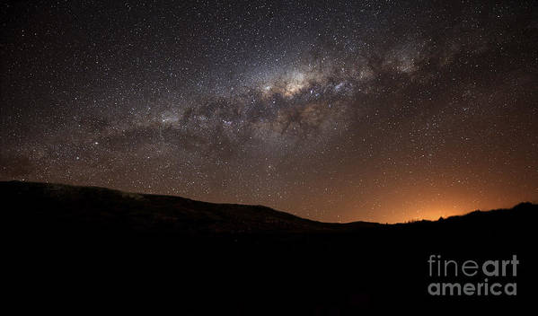 Sky Poster featuring the photograph The Milky Way Setting Behind The Hills by Luis Argerich