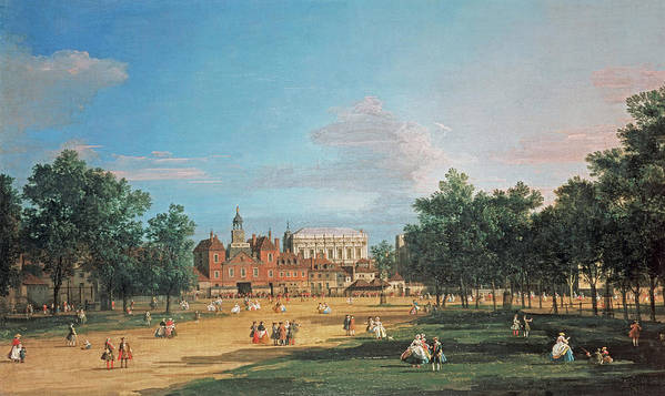 London The Old Horse Guards And The Banqueting Hall By Canaletto Poster featuring the painting The Old Horse Guards by Canaletto