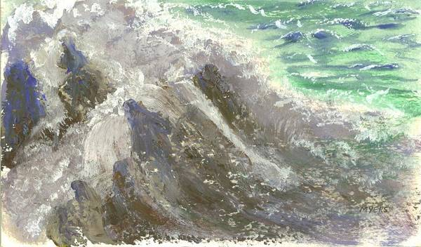 Ocean Poster featuring the painting The Rushing Ocean Waves by Rhonda Myers