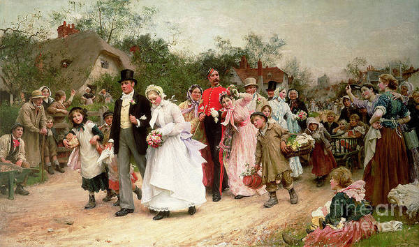 Portrait; Group Poster featuring the painting The Village Wedding by Sir Samuel Luke Fildes