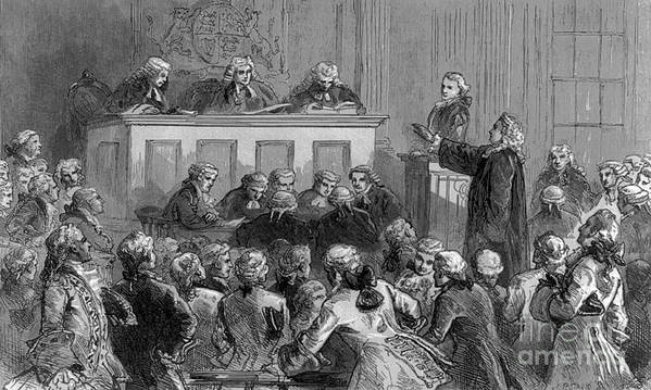 History Poster featuring the photograph The Zenger Case, 1735 by Photo Researchers