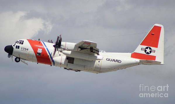 Us Coast Guard C-130. Red White And Blue Color Scheme. Poster featuring the photograph Us Coast Guard C-130 by John Linder