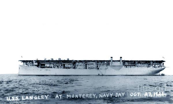Uss Langley Cv 1 Off Monterey Poster Featuring The Photograph Uss Langley Cv