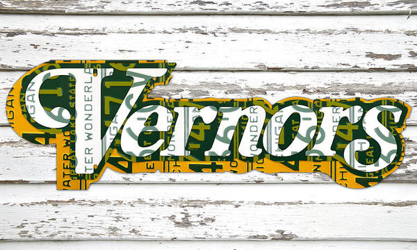 Vernors Poster featuring the mixed media Vernors Beverage Company Recycled Michigan License Plate Art On Old White Barn Wood by Design Turnpike