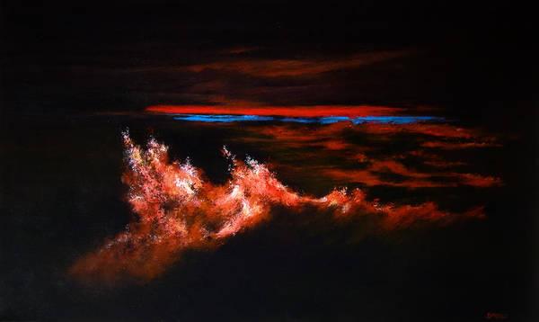 Modern Art Poster featuring the painting Waves by DEVARAJ DanielFranco