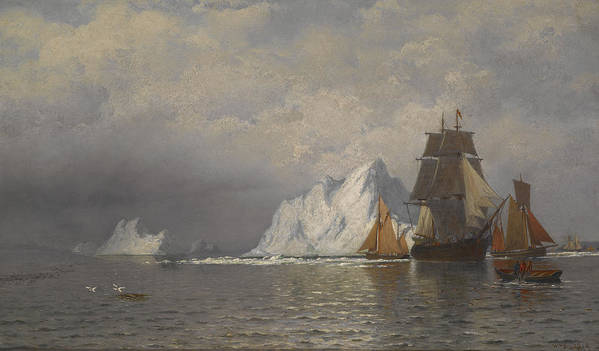 Ships Poster featuring the painting Whaler And Fishing Vessels Near The Coast Of Labrador by William Bradford