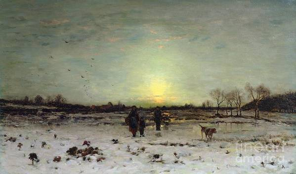 Bal98633 Poster featuring the painting Winter Landscape At Sunset by Ludwig Munthe
