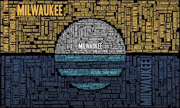 Word Cloud Poster featuring the digital art Milwaukee Neighborhood Word Cloud by Scott Norris