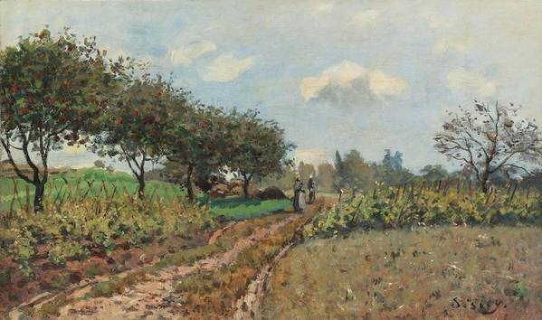 Alfred Sisley Poster featuring the painting The Road At Campagne, 1876 by Alfred Sisley