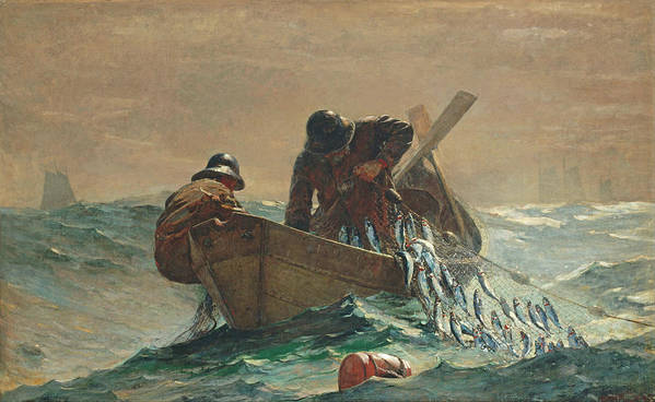 Fishing; United States; Contemporary Age; Realism; North America; Sea; Waves Poster featuring the painting The Herring Net by Winslow Homer