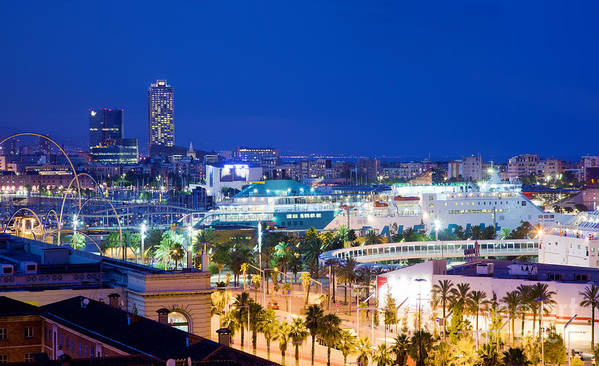 Barcelona Poster featuring the photograph Barcelona And Its Skyline At Night by Michal Bednarek