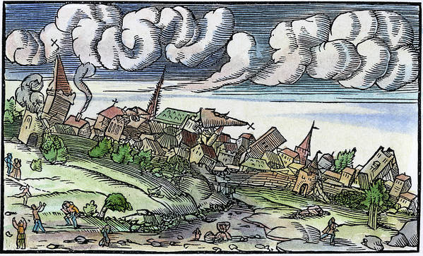1550 Poster featuring the painting Earthquake, 1550 by Granger