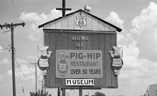 66 Poster featuring the photograph Route 66 - Pig-hip Restaurant by Frank Romeo