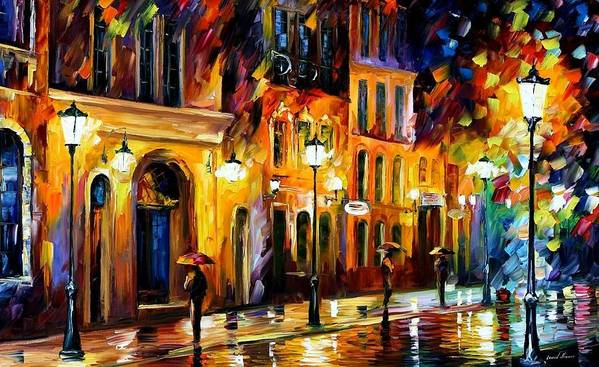 Afremov Poster featuring the painting When The City Sleeps by Leonid Afremov