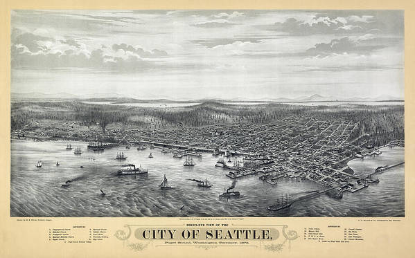 seattle Map Poster featuring the photograph 1878 Seattle Washington Map by Daniel Hagerman