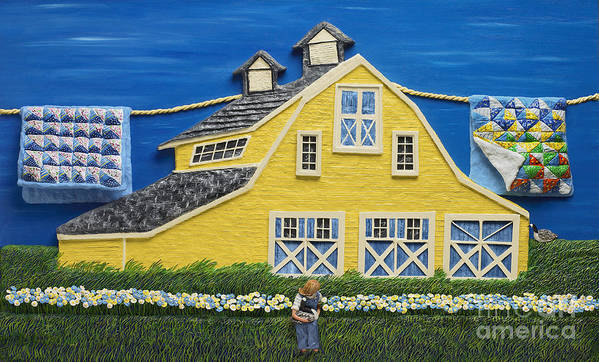 Yellow Poster featuring the sculpture Yellow Barn by Anne Klar