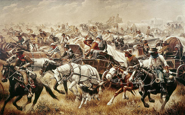 1889 Poster featuring the painting Oklahoma Land Rush, 1889 4 by Granger