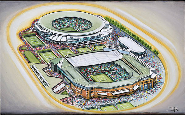 All England Poster featuring the painting All England Lawn Tennis Club by D J Rogers
