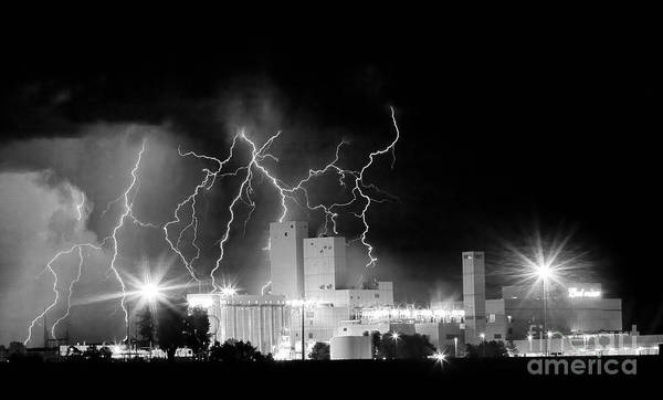Lightning Poster featuring the photograph Budweiser Lightning Thunderstorm Moving Out Bw Pano by James BO Insogna