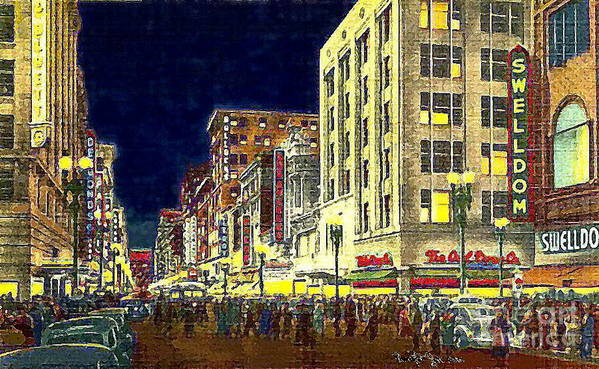 Department Stores Poster featuring the painting Bullock's Department Store On Broadway In Downtown Los Angeles Ca Around 1940 by Dwight Goss