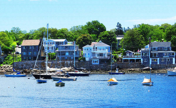 Tags Poster featuring the photograph Calm Summer Day At Rockport Harbor by Bob Sandler