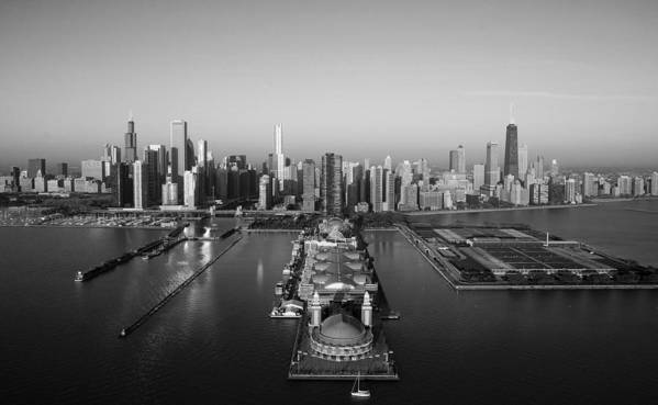 Chicago Poster featuring the photograph Chicago By Air Bw by Jeff Lewis