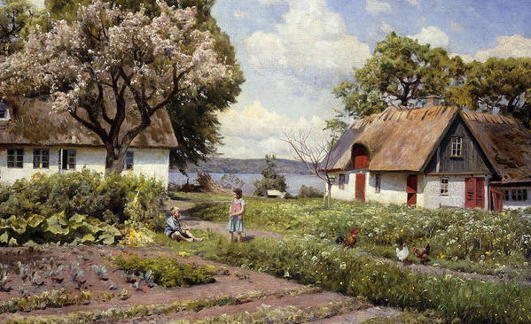 1930s Poster featuring the painting Children In A Farmyard by Peder Monsted